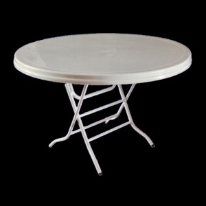 Plastic Table 900mm with Folding Legs, Round