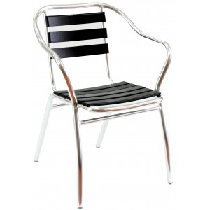 Teak Slat Arm Chair Aluminium Frame, Black