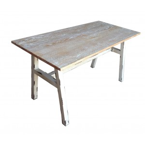 .Steel and Solid Wood Table 1400x700mm - Vinatge Finish