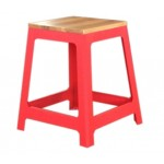 "Steel Stool with Wooden Seat 450mm seat height ""RED"""