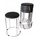 "Barrel stool with Chrome base 470mm seat height ""Black"""