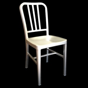 Navy Aluminium Side Chair - Silver