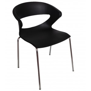 Black Taurus Stackable Chair Chrome Steel Frame