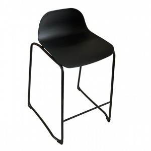 Lobax Kitchen Stool Black Seat, Black Frame, 65cm