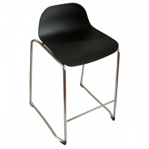 Lobax Kitchen Stool Black Seat, Chrome Frame, 65cm
