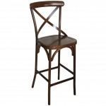 Cross Back Aluminium Bar Stool - Wooden Finish