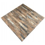 600mm, Compact Laminate, Square, Rustic Block Wood