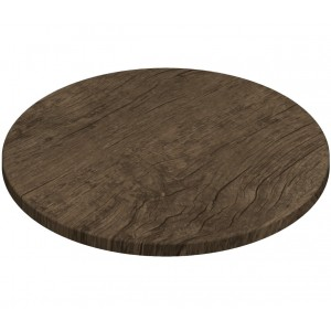 700mm, Gentas Heatproof Table Top, Round, Rustic Dark Oak
