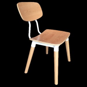 .Lily Dining Chair Steel, Plywood ,W/ Veneer Seat - White Oak Colour