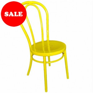 "Bistro Bentwood Style Galvanised Chair ""Yellow"""