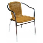 Rattan Effect Armchair Aluminium Frame, Honey
