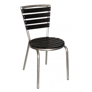 Teak Slat Side Chair Aluminium Frame, Black