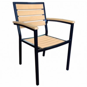 Syn Teak Arm Chair With Black Frame