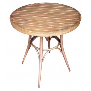 .Lisa Dining Table Aluminium 700mm Round - Wooden Finish Colour