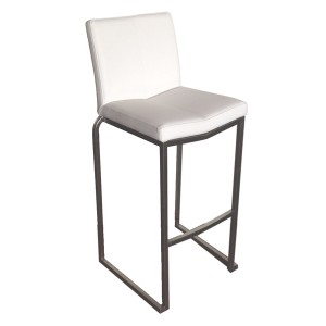 """Amao Stackable Bar Stool """"White"""" with High Back on S/S Frame"""