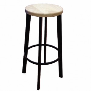 Ash Seat Kitchen Stool with Black Frame 65cm