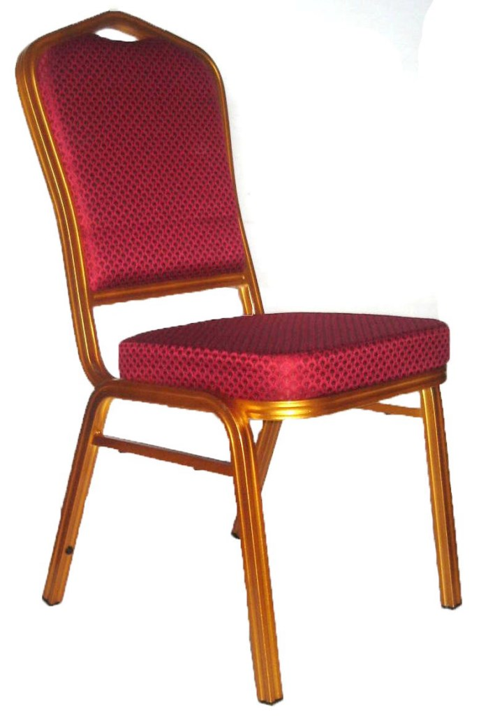 Banquet Chair, Red with Gold Aluminium Frame
