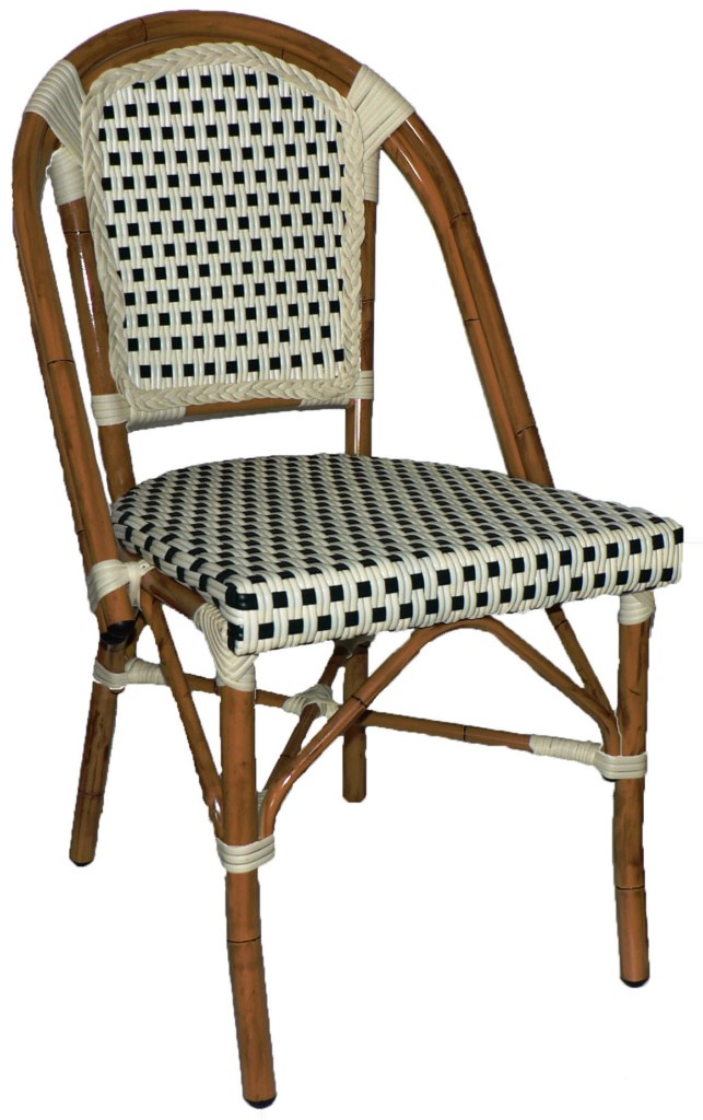 Rattan Wicker Sidechair (Cream-Chocolate)