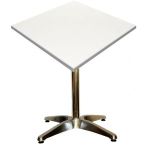 600mm Square White Heat Proof Table Top on Standard Aluminium Base