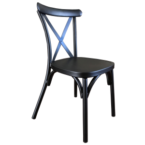 Cross Back Aluminium Dining Chair - Black