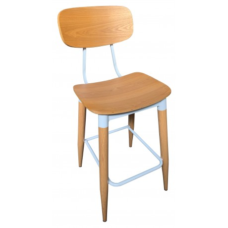 Poppy Bar Stool with Steel Frame and Plywood Seat and Back 750mm Seat Height