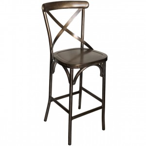 Cross Back Aluminium Bar Stool - Gunmetal