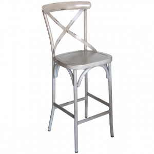 Cross Back Aluminium Bar Stool - Vintage White