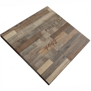 700mm, Timber Veneer Table Top, Square, Vintage Finish