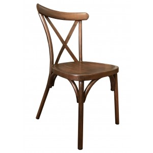 Cross Back Aluminium Dining Chair - Wooden Finish Colour