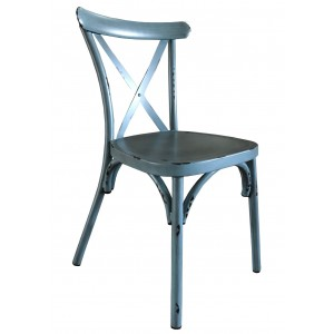 Cross Back Aluminium Dining Chair - Vintage Blue Colour
