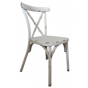 Cross Back Aluminium Dining Chair - Vintage White Colour